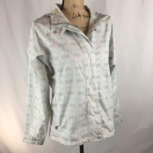 White Sierra Blue/Brown Plaid Rain Jacket Sz S